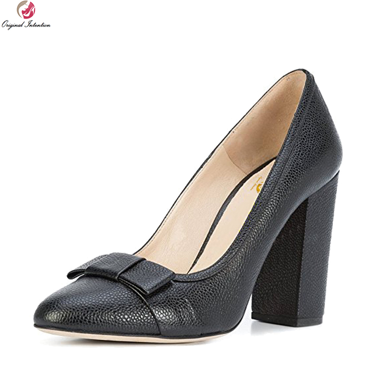 Original Intention 2018 New Elegant Women Pumps Fashion Round Toe Square Heels Pumps Popular Black Shoes Woman Plus US Size 4-15 original intention new fashion women pumps square toe square heels pumps cow leather stylish black shoes woman us size 3 5 10