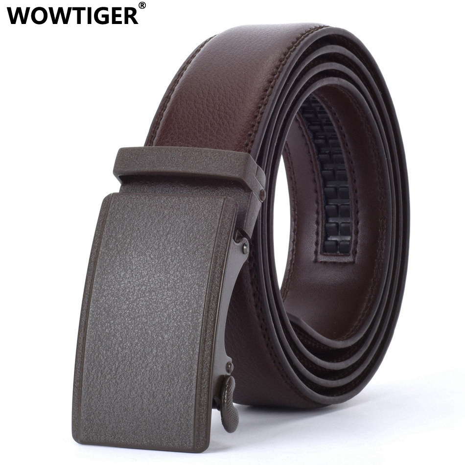 WOWTIGER Brown 35mm Cowhide Leather   Belt   For Men High Quality Male Brand Ratchet Automatic Luxury   belts   Cinturones Hombre