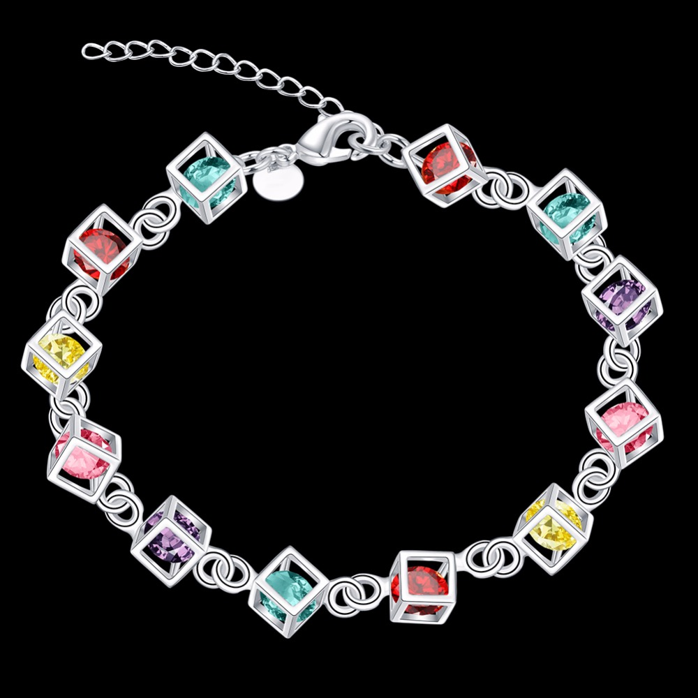Hot Sale Shiny CZ Crystal Happiness Rubic Cube 925 pure silver plated Woman Girl Bracelet Multicolored Cube Rainbow Jewelry