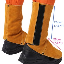 Professional Welding Spats Cowhide Leather Flame Heat Abrasion Resistant Working Shoe Cover Protector Welding Gaiter