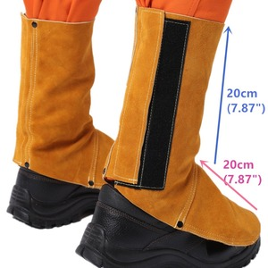 Image 1 - Professional Welding Spats Cowhide Leather Flame Heat Abrasion Resistant Working Shoe Cover Protector Welding Gaiter