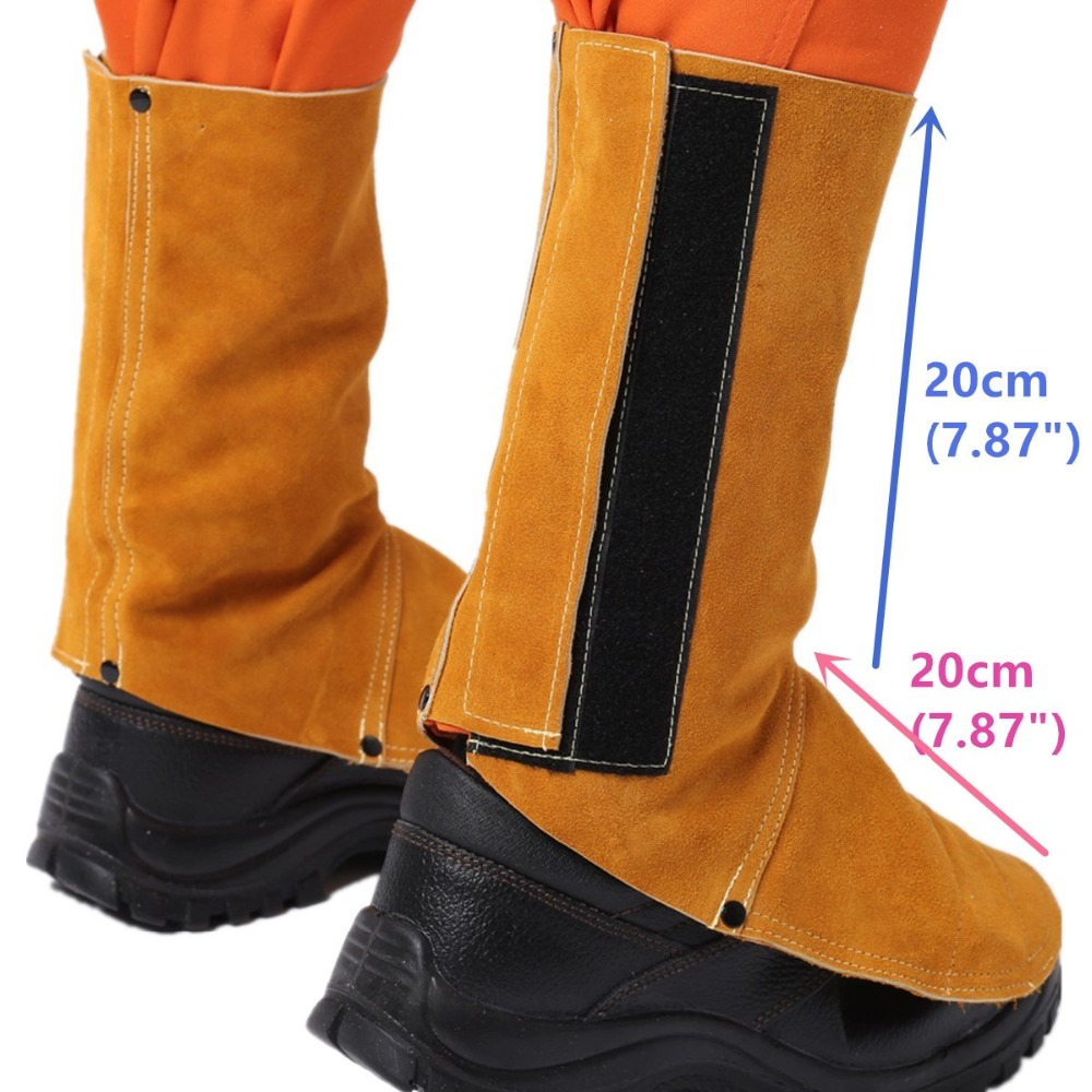 Welding Gaiter Flame/Heat/Abrasion Resistant Cowhide Leather Working Shoe Cover Protector Leather Welding Spats