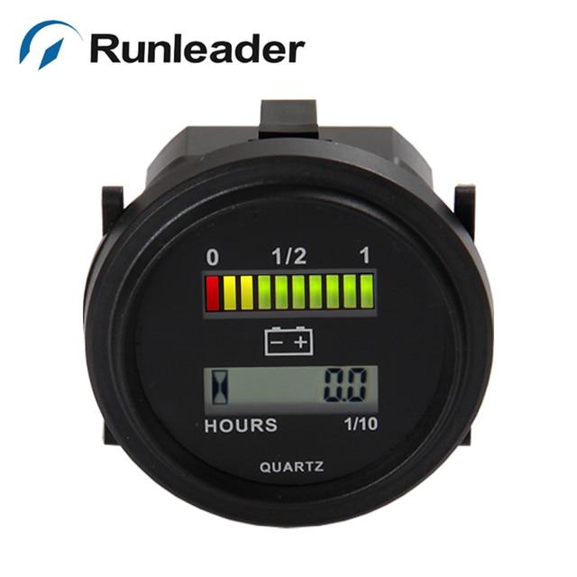 Freeshipping RL-BI004 Hour Meter LED Volt Meter battery indicator with hour meter for Golf Cart Forklift 12V 24V 36V 48V 72V