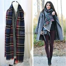 WJ33 2014 Famous Brand Cashmere Tartan Scarf Wrap Poncho Scarves Women Fashion winter Warm Plaid Blanket