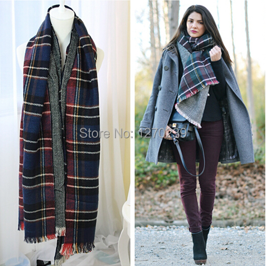 WJ33 2014 Famous Brand Cashmere font b Tartan b font Scarf Wrap Poncho Scarves Women Fashion