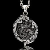 Oriental Vibrations genuine dragon man 925 Sterling Silver Necklace Pendant Silver peony retro male