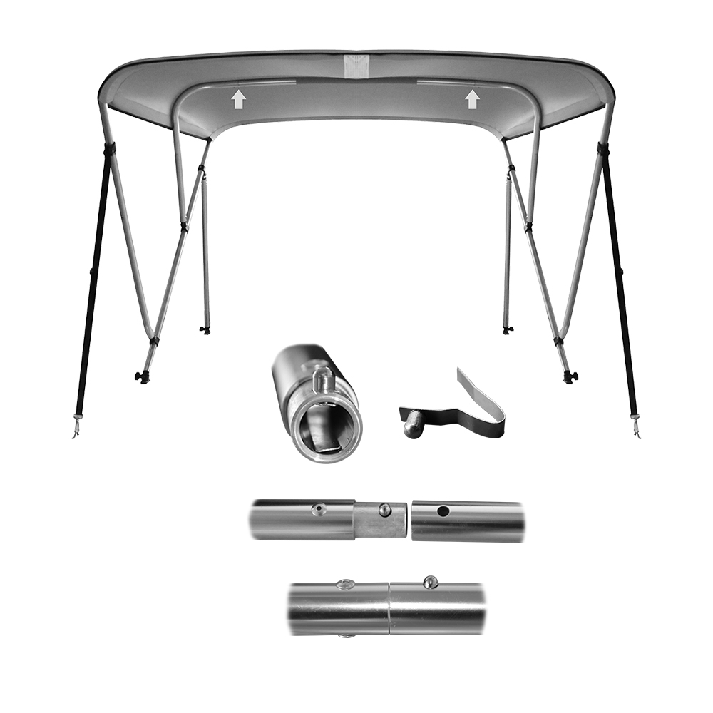 3 Bow Aluminum 25mm Round Tubes Bimini Top UV Waterproof 600D Boat Cover with Boot and Hardware,6'x54-60