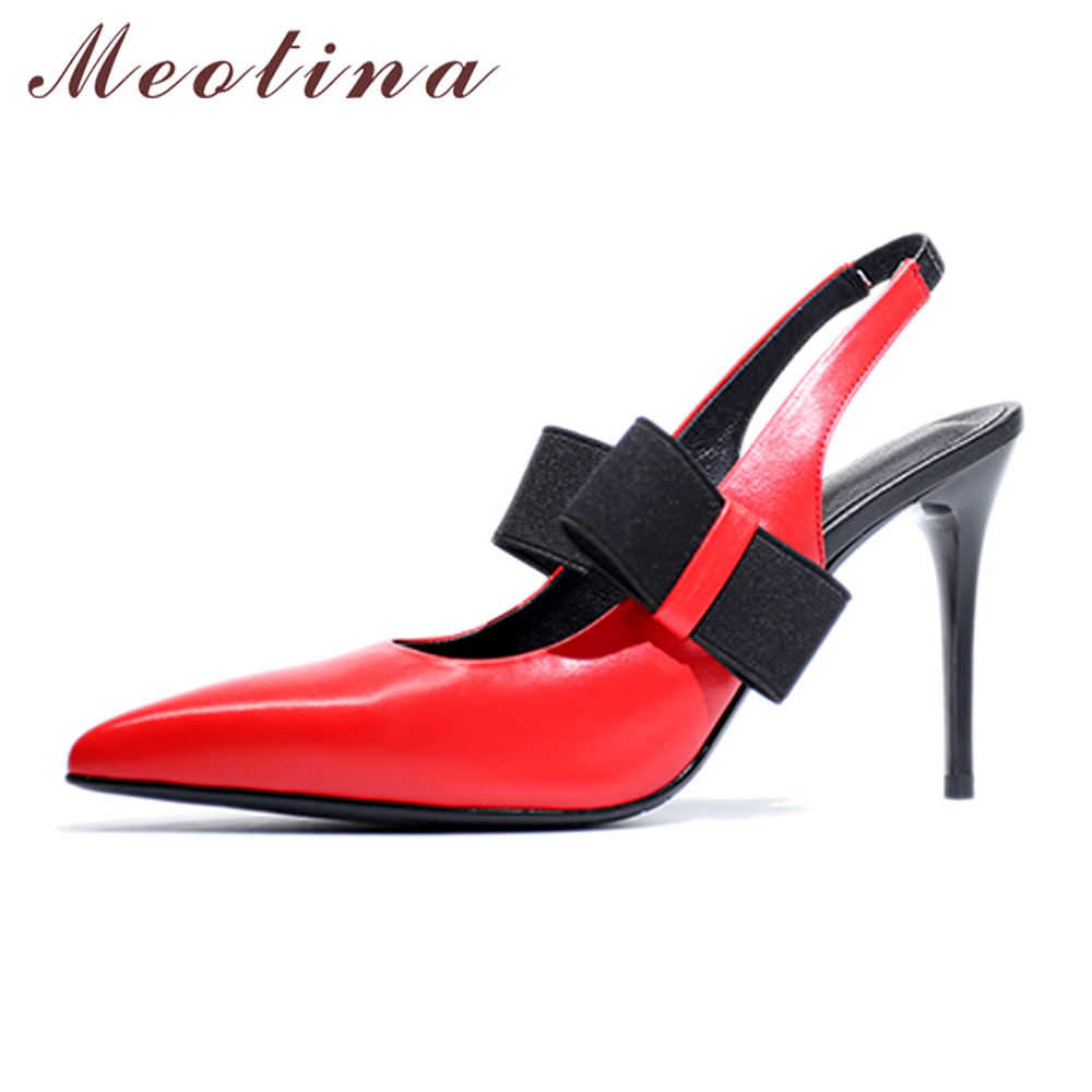 Meotina Genuine Leather Shoes Women Pumps Slingback High Heels Pointed Toe Thin High Heels Bow Sexy Stiletto Pumps Red Yellow enmayda platform pumps ladies sexy high heels fashion red bottom women pumps pointed toe slingback thin heels women dress shoes