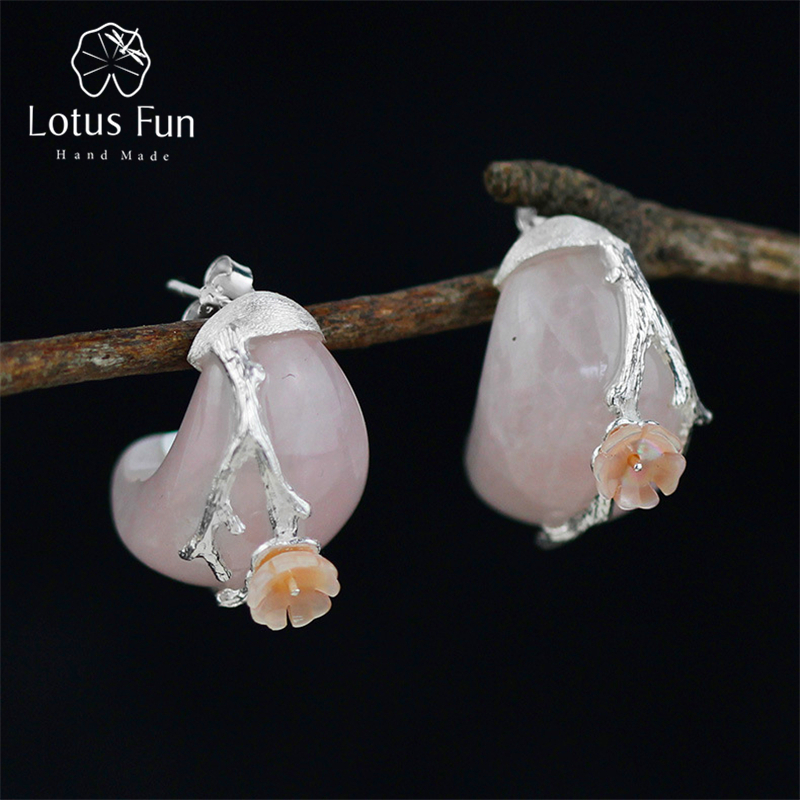 aliexpress.com - Lotus Fun Real 925 Sterling Silver Natural Rosy Crystal  Original Handmade Fine Jewelry Plum Flower Stud Earrings for Women -  imall.com 89d35d6bec39