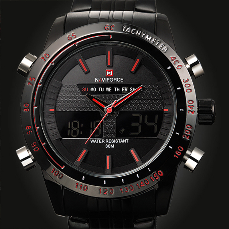 NAVIFORCE Luxury brand Sports Watches Men Steel LED Army Military Watch Men's Quartz Analog Digital Watch relogio masculino 2017 weide army watches men s steel business luxury brand quartz military sport watch analog digital display wristwatch sale items