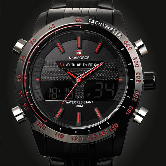 Naviforce esportes de luxo da marca relógios homens de aço levou relógio militar do exército dos homens de quartzo analógico digital watch relogio masculino 2017