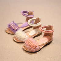 Bebê sapatos de luxo verão crianças sandálias moda meninas rendas sapatos casamento tênis pérola 2019 novas crianças sapatos lisos para a menina|Sandálias| |  -