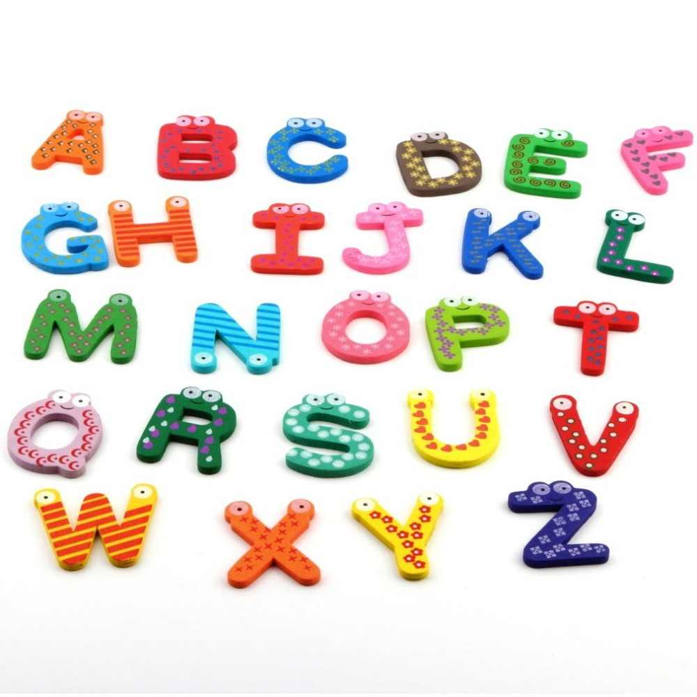 Детские игрушки 26 шт./компл. деревянные Мультяшные алфавиты A-Z магниты Детские Обучающие деревянные игрушки стикеры на холодильник подарок Разные цвета
