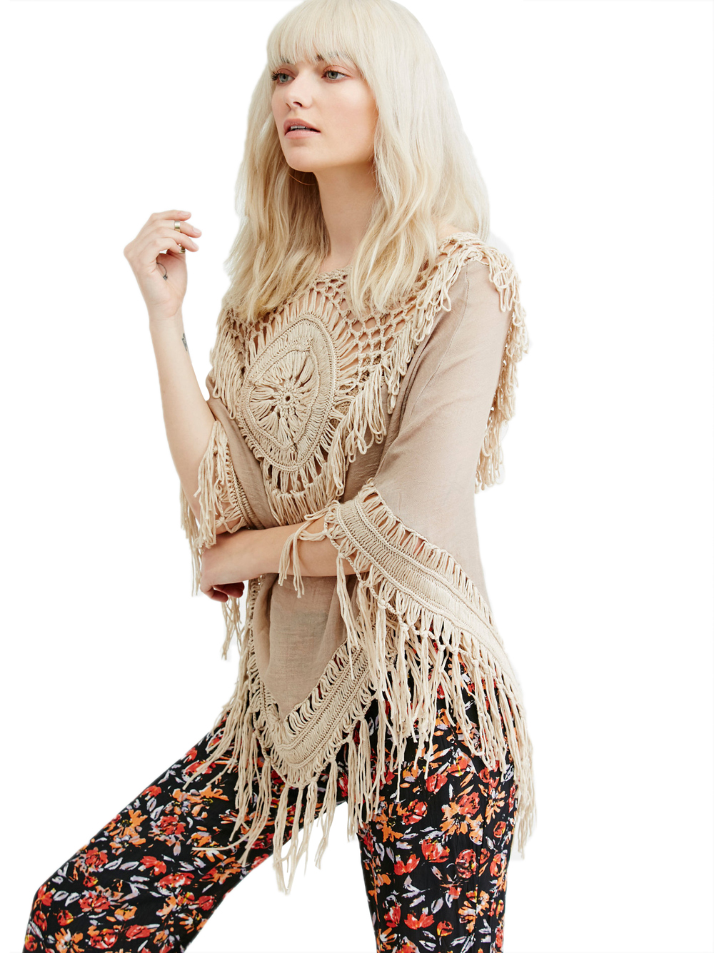 Free Shipping Women Crochet Lace Fringe Knit Poncho Cape Shawl Wrap 4F4640