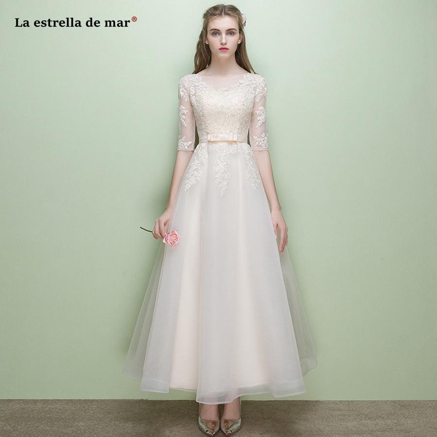 Sukienka na wesele dla kobiety2018 new lace Half sleeve a Line champagne   bridesmaid     dresses   long pretty vestido madrinha