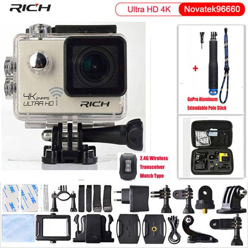 Original Sport Camera NT96660 4K 24fps ULTRA HD 16MP WiFi 30M Waterproof Action camera Aluminum Extendable Pole Stick+camera bag экшн камера merlin procam lite 4k ultra hd 30 fps