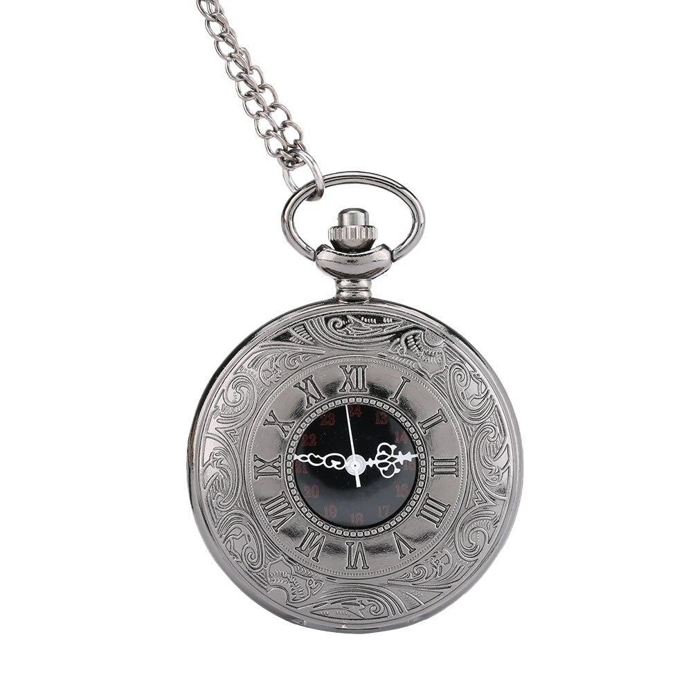 New Retro Classic Roman Numerals Pocket Watch Antique Steam Punk Quartz Necklace Pendant Watch Gift LXH