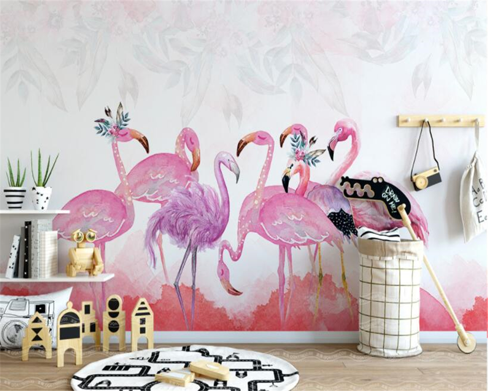 Beibehang High quality 3d wallpaper mural modern minimalist hand painted flamingo 10 photo wallpaper papel de parede tapety in Wallpapers from Home Improvement