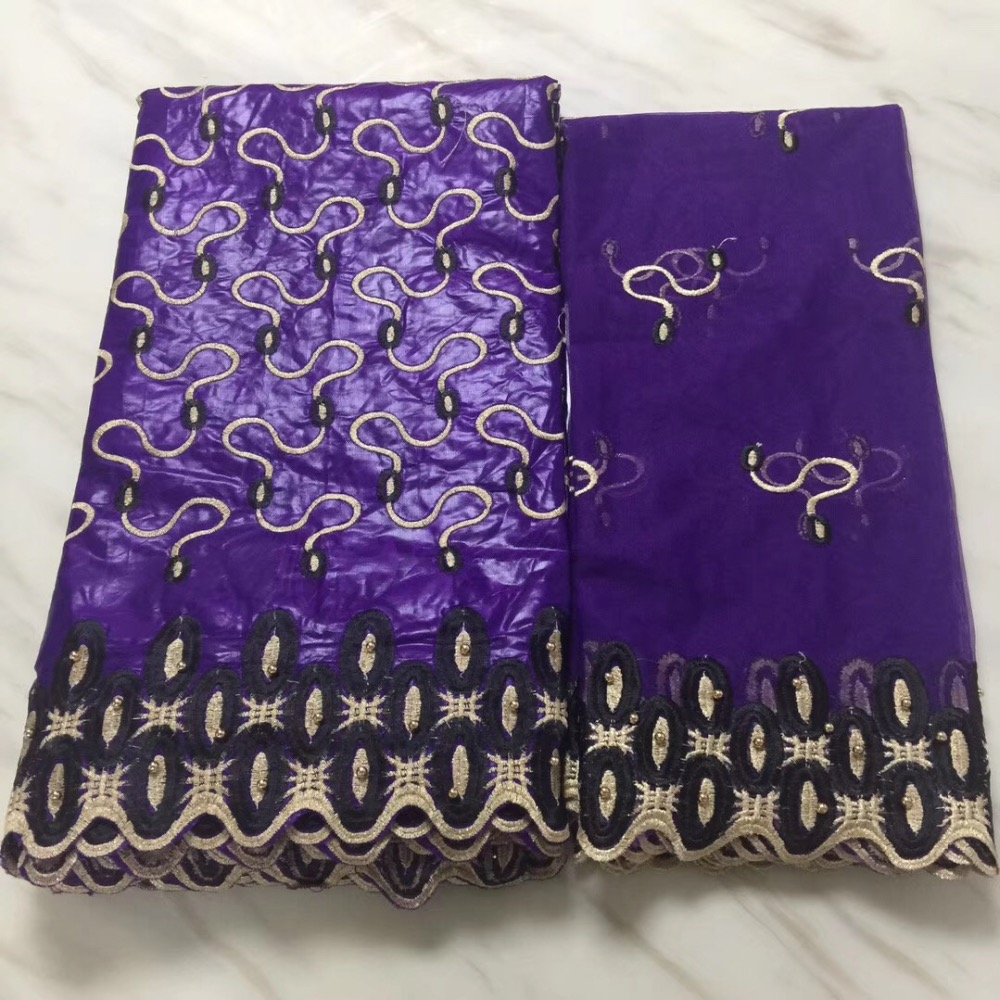 Ouro roxo tecidos rendas africano Algodão bazin riche getzner tecido para pano 2019 chegada Nova nigeriano tecido broderie 5 + 2 metros