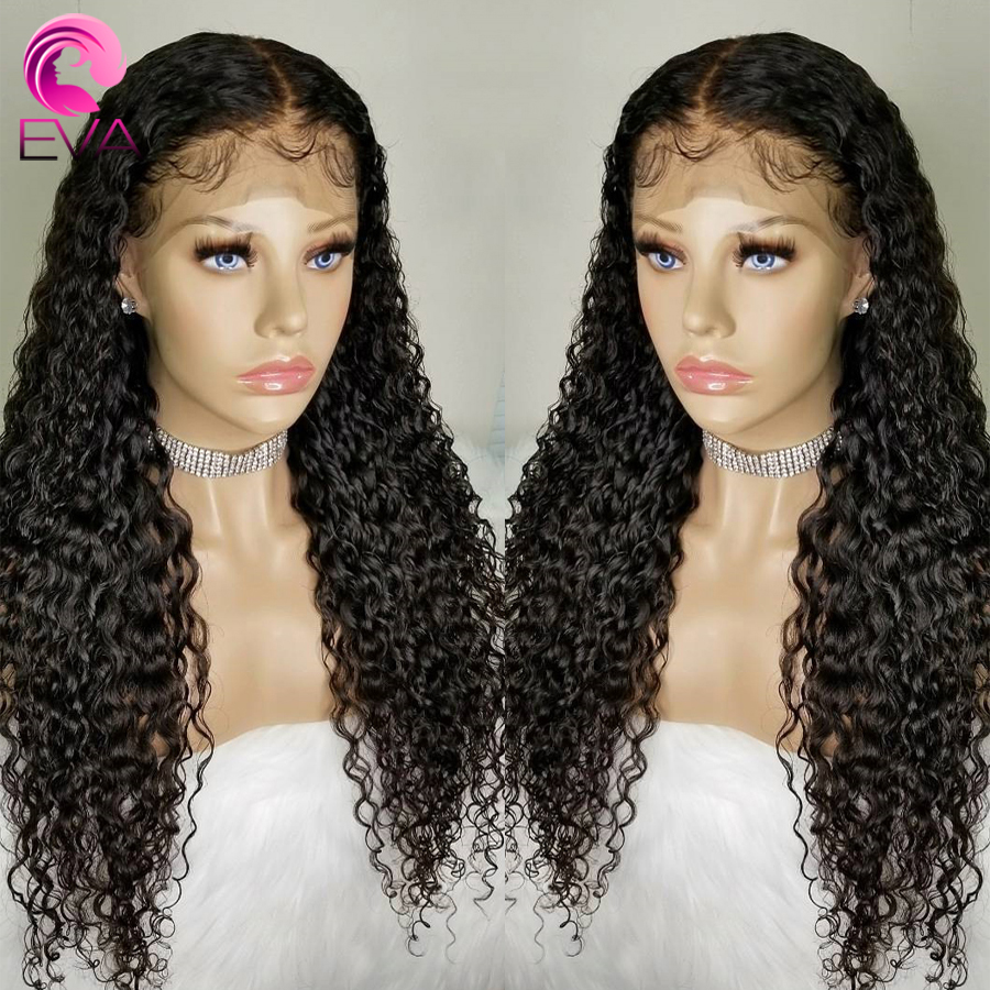 Eva Hair Brazilian Curly Wigs Lace Front Human Hair Wigs Baby Hair 130% Density Lace Front Wigs For Women With Bleached Knots