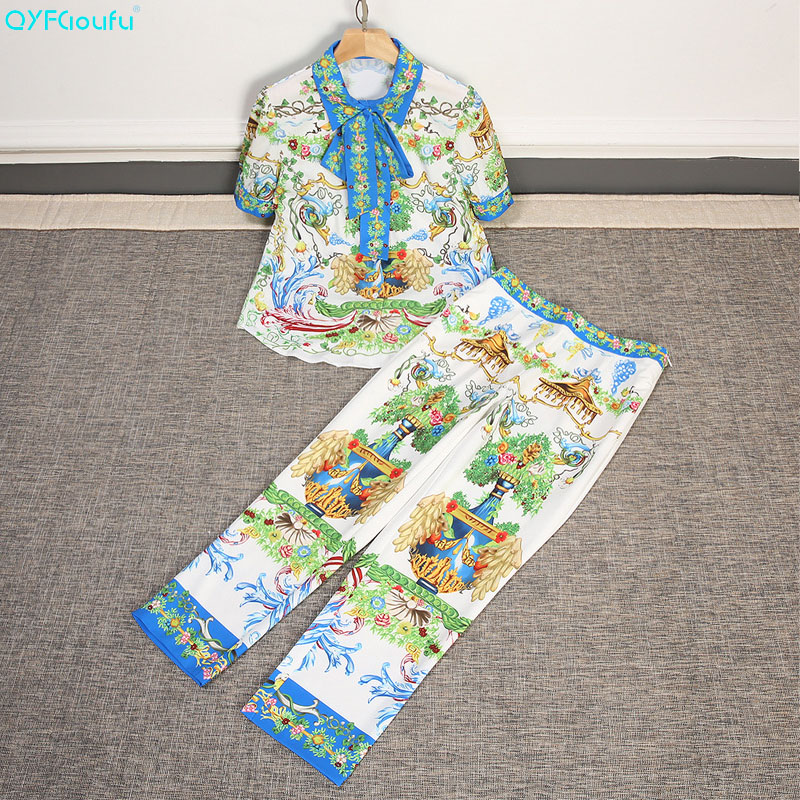QYFCIOUFU New 2018 Fashion Runway Designer Two Piece Set Top And Pants Womens Short Sleeve Bow Blouse Printed Vintage Pants Set