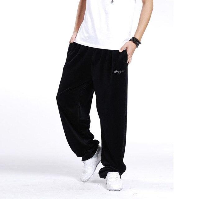 Men's Big Size Harem Trousers XXXL 3XL Hip Hop Loose Casual Velvet Dancer Wide Legs Pants Baggy Sweatpants Fitness For Men
