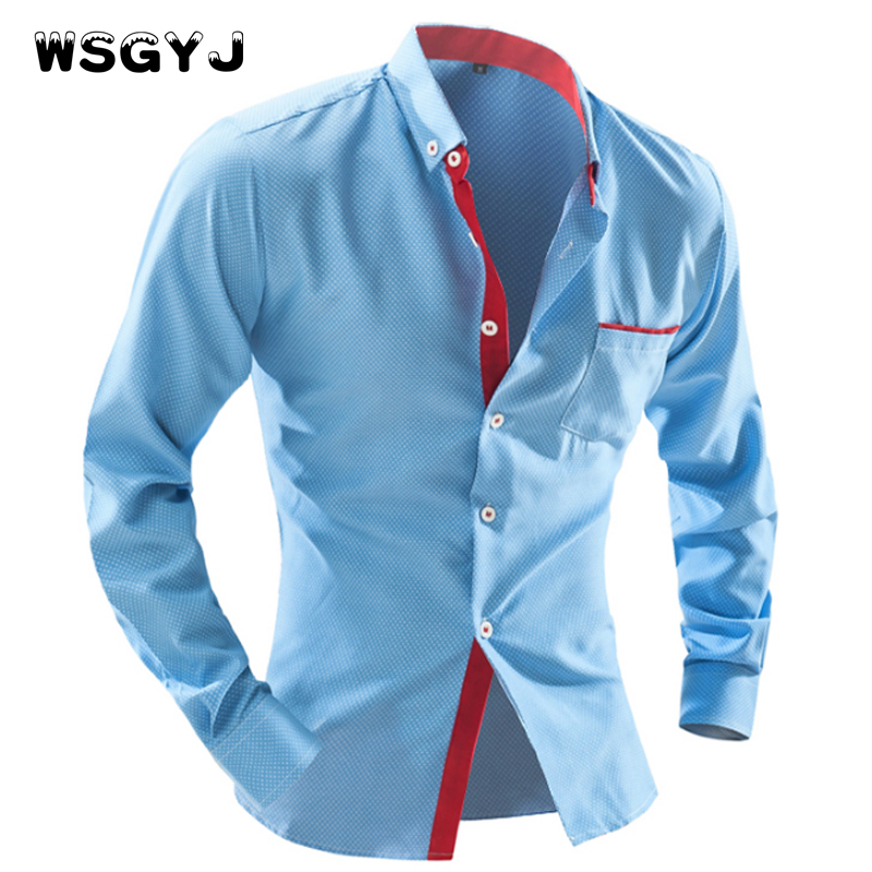WSGYJ 2017 Men S Fashion Men Shirt British Fashion Wave Point Slim Square Collar Long Sleeved