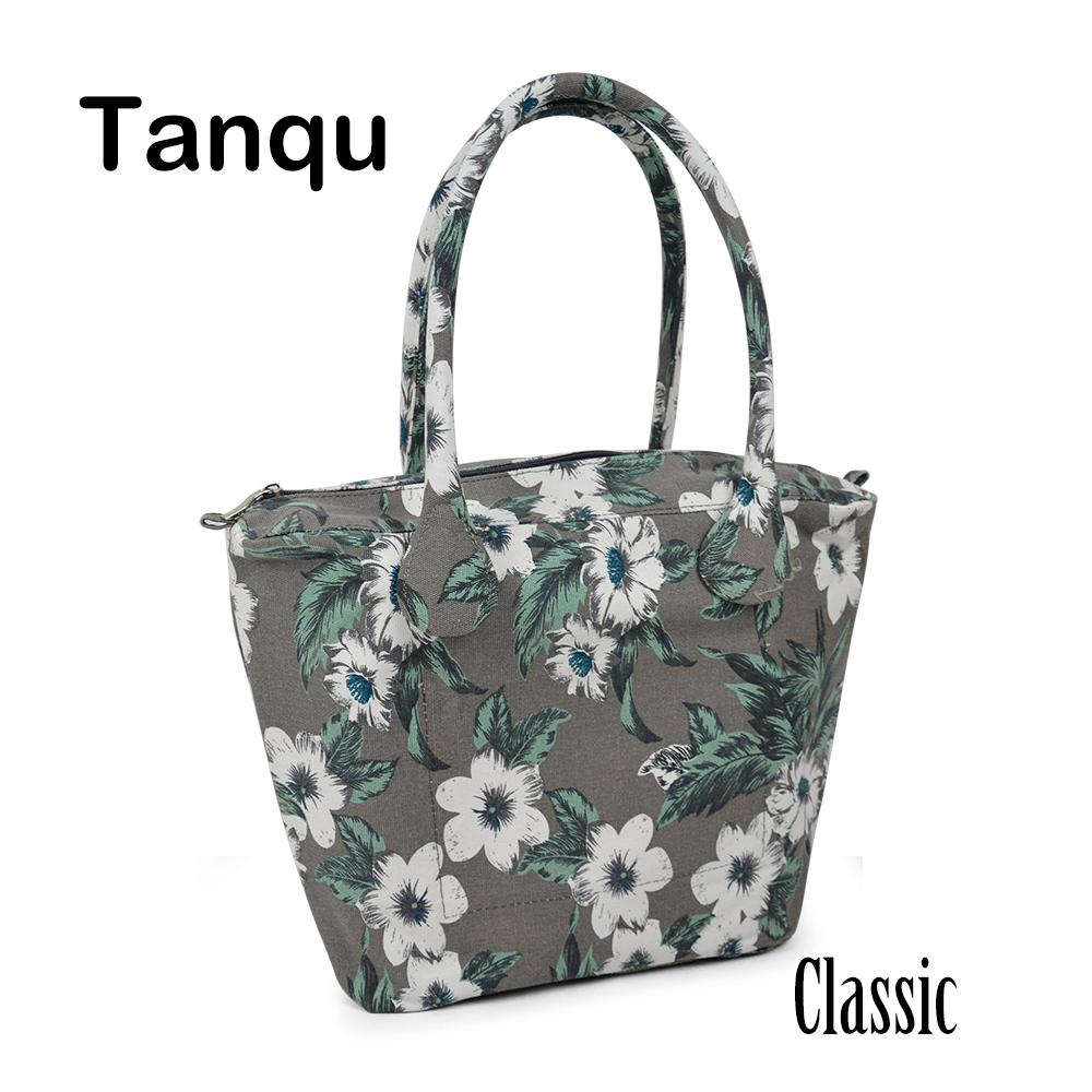 TANQU Long Round Flora Canvas Fabric Handle with Classic Insert Lining for Obag Classic O Bag Women's Bags Shoulder Handbag new colorful cartoon floral insert lining for o chic ochic canvas waterproof inner pocket for obag women handbag