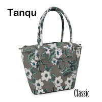 TANQU Long Round Flora Canvas Fabric Handle With Classic Insert Lining For Obag Classic O Bag
