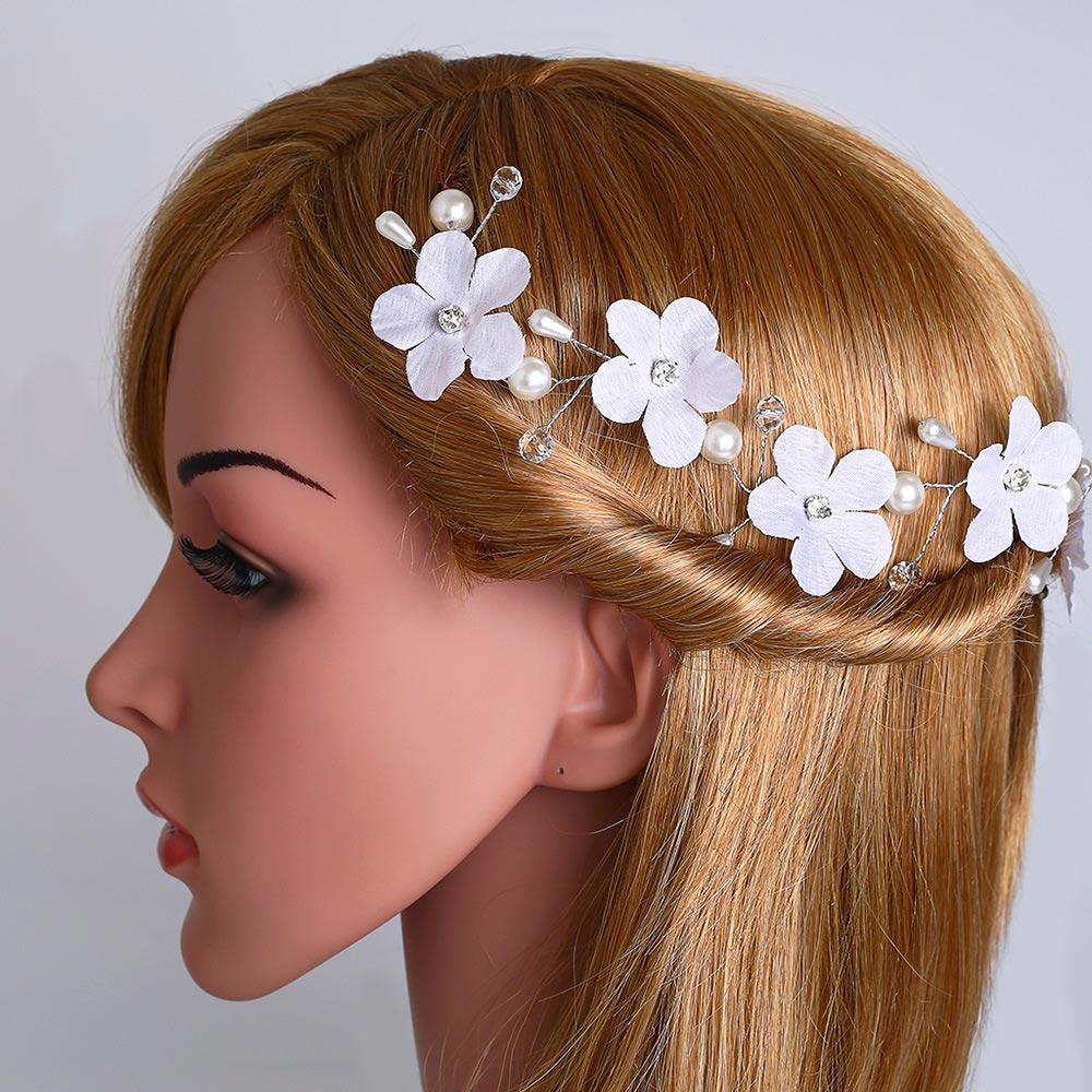 Ocesrio Handmade Pearl Bridal Wedding Hair Band For Women Silk