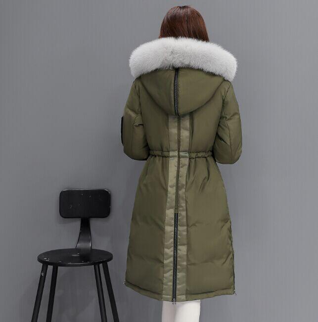 St467 Manteaux Vers Doudoune Col De D'hiver Army Veste Green black Capuchon Chaud Nouvelle Parka Femme Femmes Down Long Fourrure Mode Bas 2018 Le Grand À Ayunsue B7RqZZ