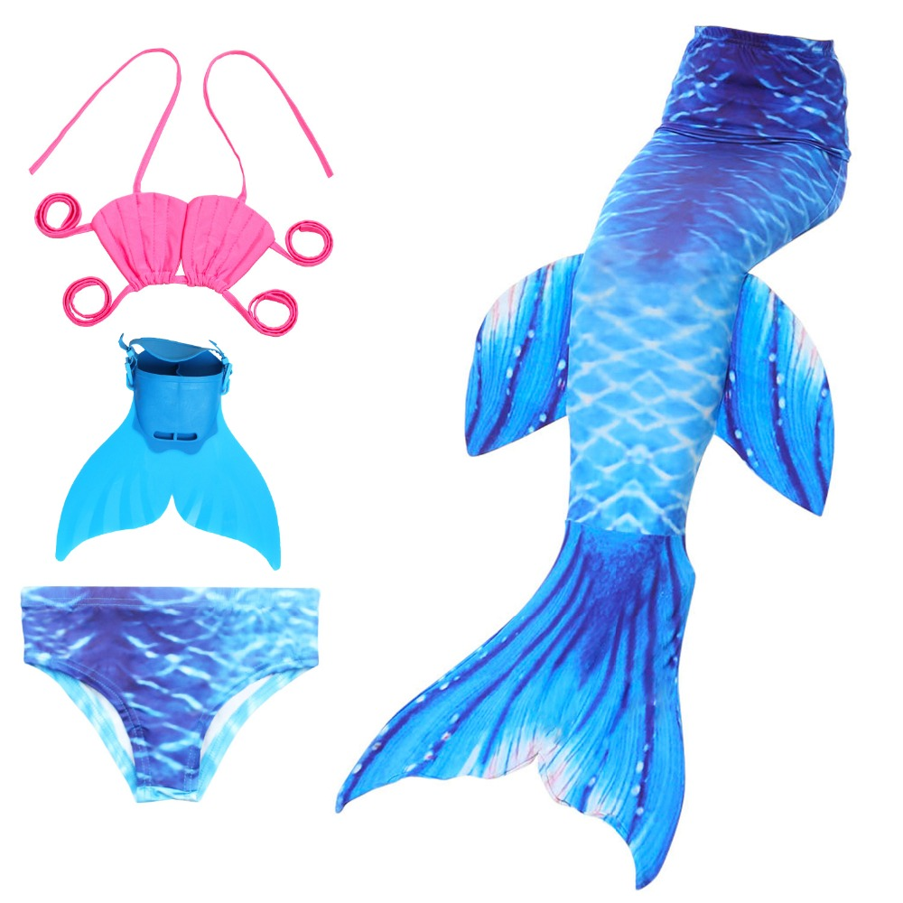 4Pcs/8 Colors Children Swimming Mermaid Tails with Fin Costume Little Mermaid Tails Skirts Princess for Girls Swimsuit Cosplay
