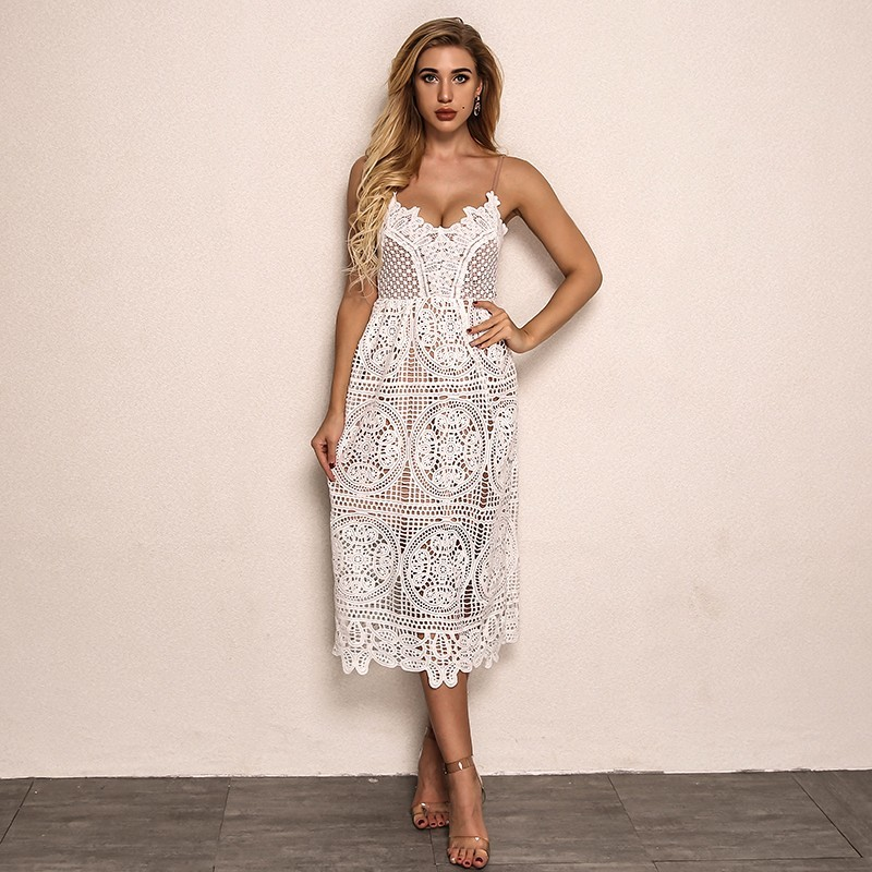 4a0ba4f35992 Dropwow Joyfunear White Dress 2018 Women Hollow Out Sleeveless Sexy ...