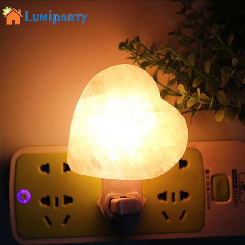 LumiParty Anti-Radiation Purifying Air Himalayan Natural Heart Night Light Air Purifier Rock Crystal Salt Wall Lamp new led night light eu us plug himalayan salt lamp air purifier crystal salt rock night lamp for office desk bedside bedroom