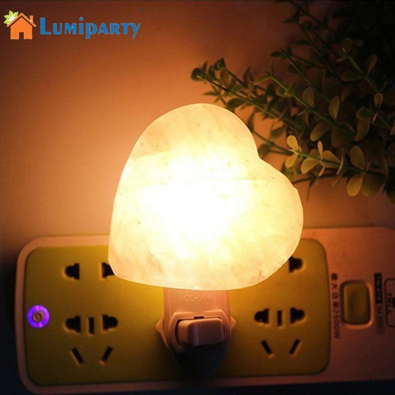 SOLLED Anti-Radiation Purifying Air Himalayan Natural Heart Night Light Air Purifier Rock Crystal Salt Wall Lamp