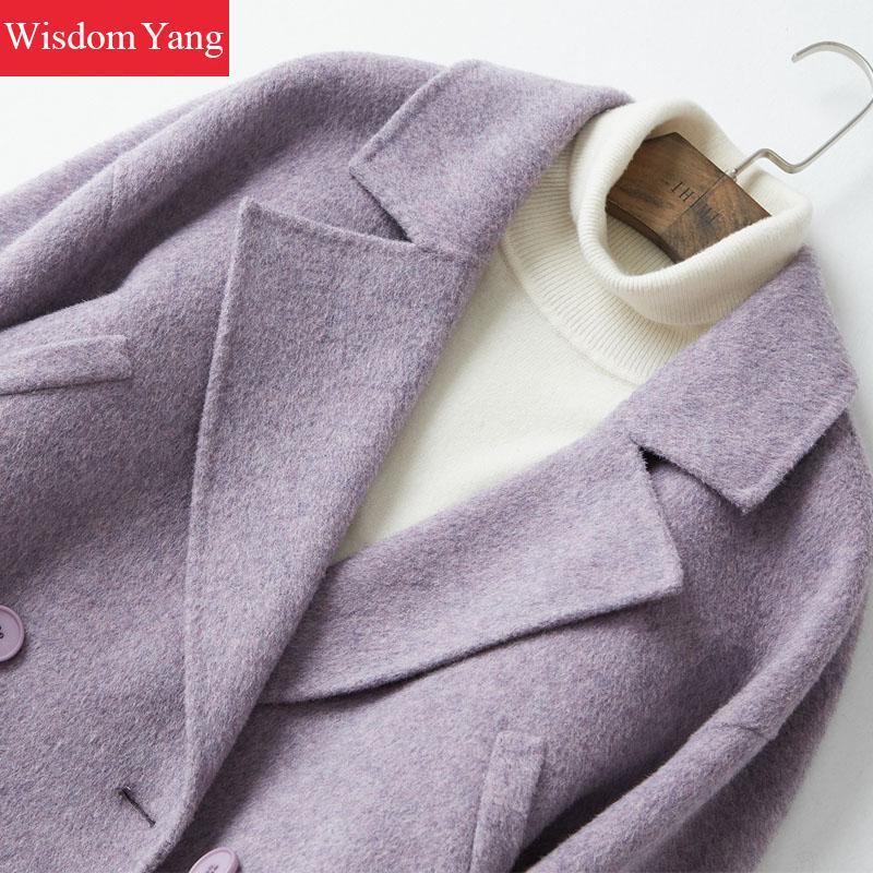 Femme Femmes 2018 Chaud Bureau Occasionnel Costume Manteau Élégantes Survêtement Moutons Laine Longue Slim Purple Manteaux Hiver Dames Coat Pourpre lKTJF1c