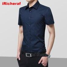 iRicheraf 2019 Summer Non-Ironing Mens Dress Shirts Short Sleeve Solid Formal Business Men Shirt White Black Plus Size 7XL 8xl