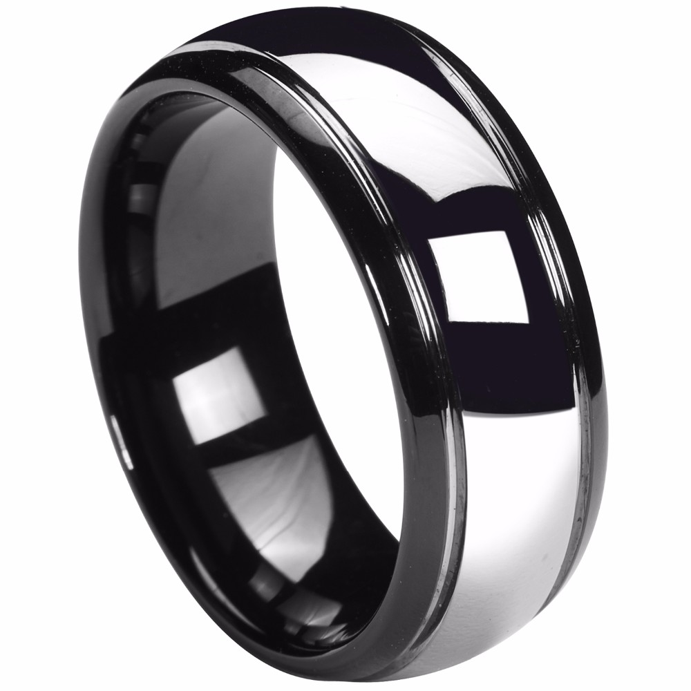 8mm Tungsten Carbide Wedding Band Black Silver Dome