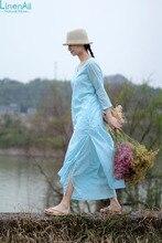 Cotton/silk clothing,Women O-neck dress, summere dress, three-quarter dress robe, loose long sky blue dress gown LinenAll YIJIU
