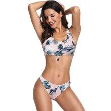 2019 High Waist Bikinis Set Thong Push Up Padded Vest Top Woman Swimwear Flower Leaf Printing Partysu Swimsuit Female Euro Style