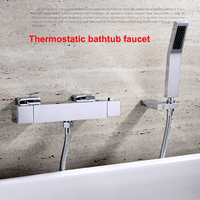 HOLO MUSEN Quality Brass Chrome Wall Mounted Bathtub Thermostatic Shower Mixer w/ Handheld Shower Bath Shower Faucet Thermostat