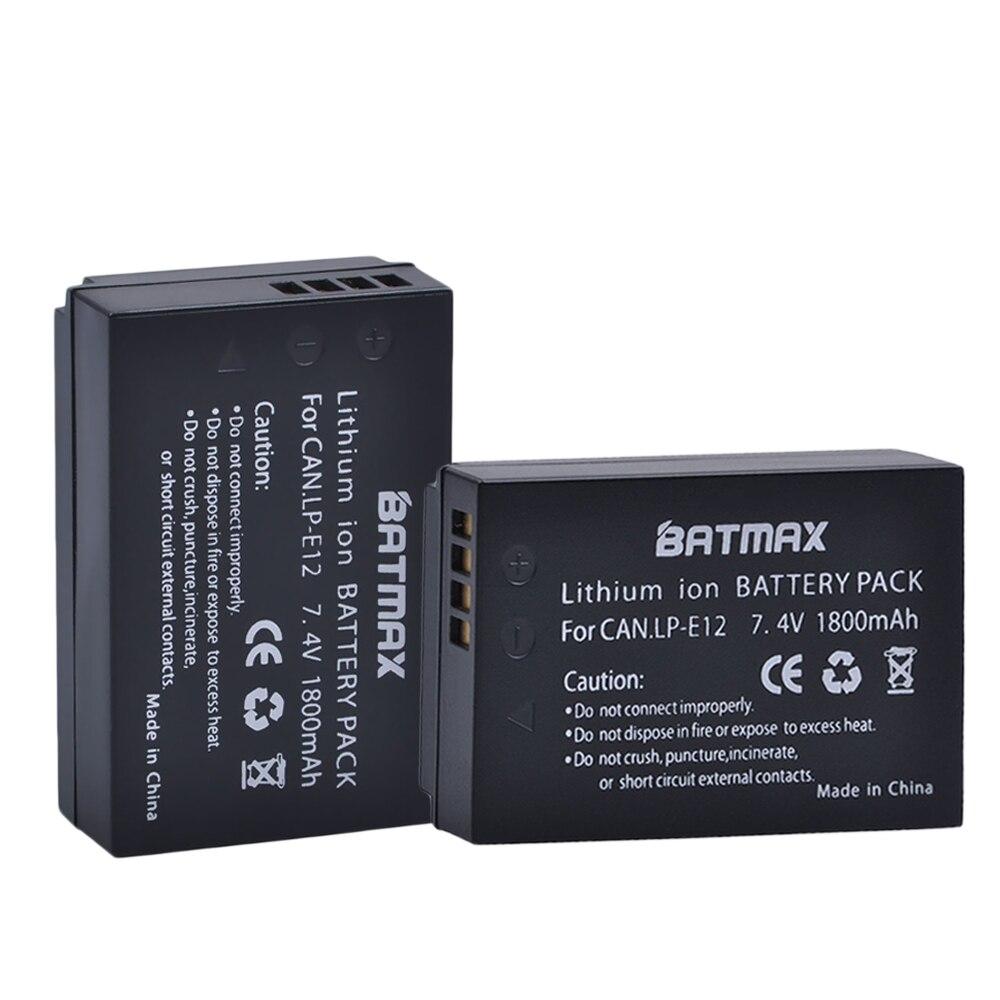 2Pack LP-E12 LP E12 LPE12 High-Capacity Replacement Batteries(1800mAh) for Canon Rebel SL1, EOS-M, EOS M2, EOS M10 Mirrorless