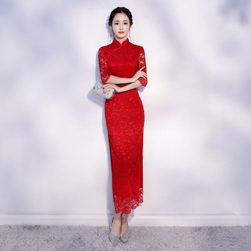 Nouveauté dentelle femme rouge Mandarin col Qipao élégant chinois mariée robe de mariée dame mince Long Vintage Cheongsam S-2XL