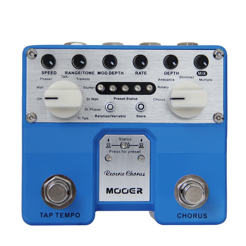 Mooer 5 Modes Digital Chorus Effects Twin Series Reverie Chorus Two-Channel Stereo Pedal True Bypass mooer ensemble queen bass chorus effects effect pedal true bypass rate knob high quality components depth knob rich sound