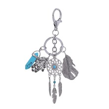 Natural Opal Stone Dreamcatcher Keyring Fashion Silver Keyholder Boho Jewelry Car Keychain For Women