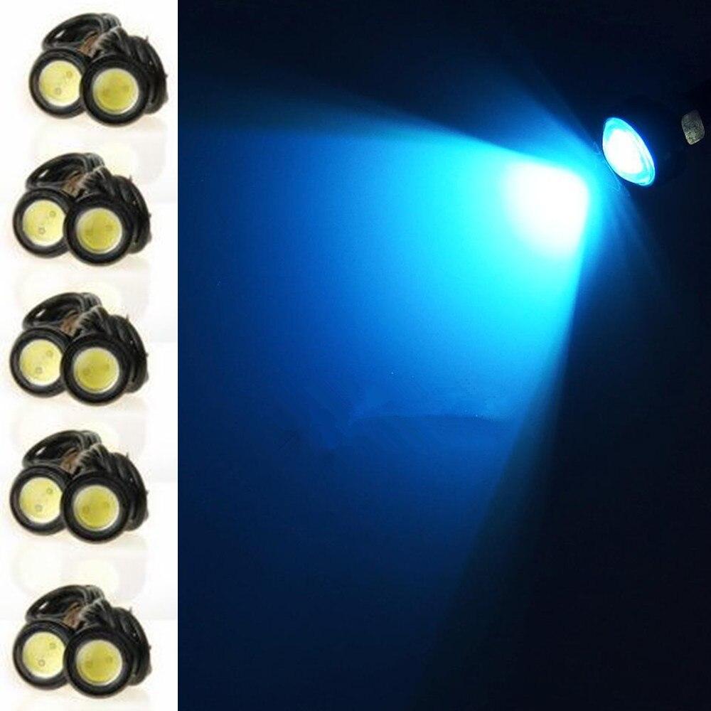 CYAN SOIL BAY 10pcs Universal Car Motor 23mm 9W Ice Blue Eagle Eye LED DRL Tail Backup Lights Lamp 12V 24V cyan soil bay 2x 9w eagle eye lamp led drl fog daytime running car tail light 18mm white amber yellow ice blue red dc 12v 24v