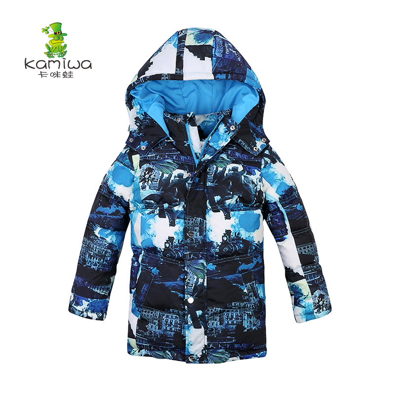 KAMIWA 2017 Baby Boys Winter Coats Jackets Geometric Printing White Duck Down Parkas Hooded Children Clothes Kids Clothing casual 2016 winter jacket for boys warm jackets coats outerwears thick hooded down cotton jackets for children boy winter parkas