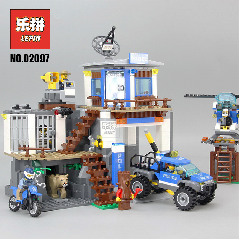 City Police Blocks Lepin 02097 the Mountain Police Headquaters Set Helicopter Compatible Legoinglys City 60174 Children DIY Toy конструктор lepin city полицейский участок в горах 742 дет 02097