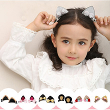 New Korea Stereo Cat Ears Hair Clips Sparkling Rabbit Hairpin Gem Crystal Grips for Girls Accessories