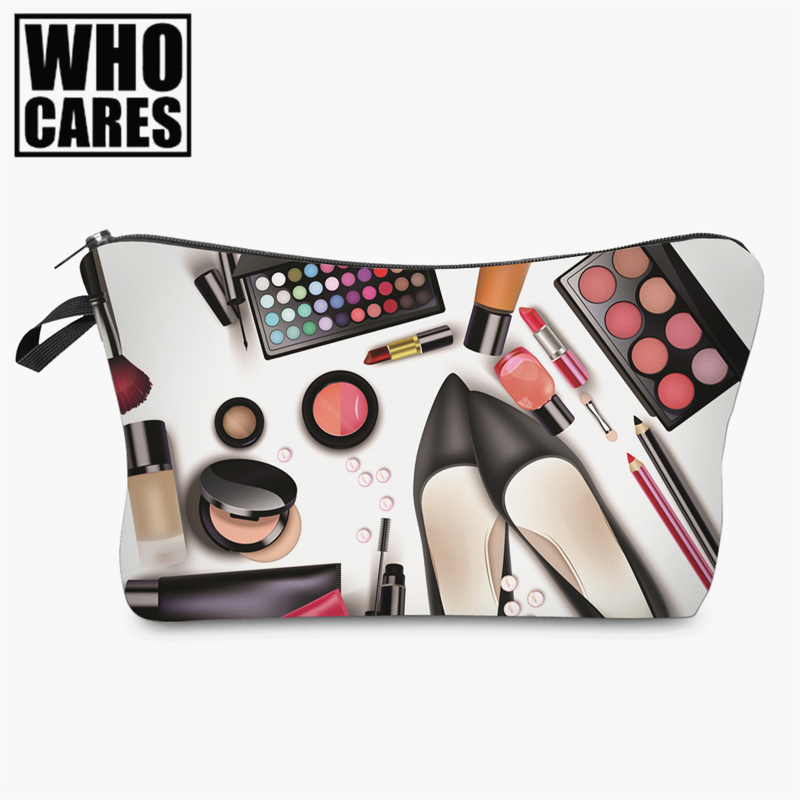 Black shoes 3D printing Cosmetic Bag women 2017 Fashion New makeup bag cosmetic cares trousse de maquillage neceser